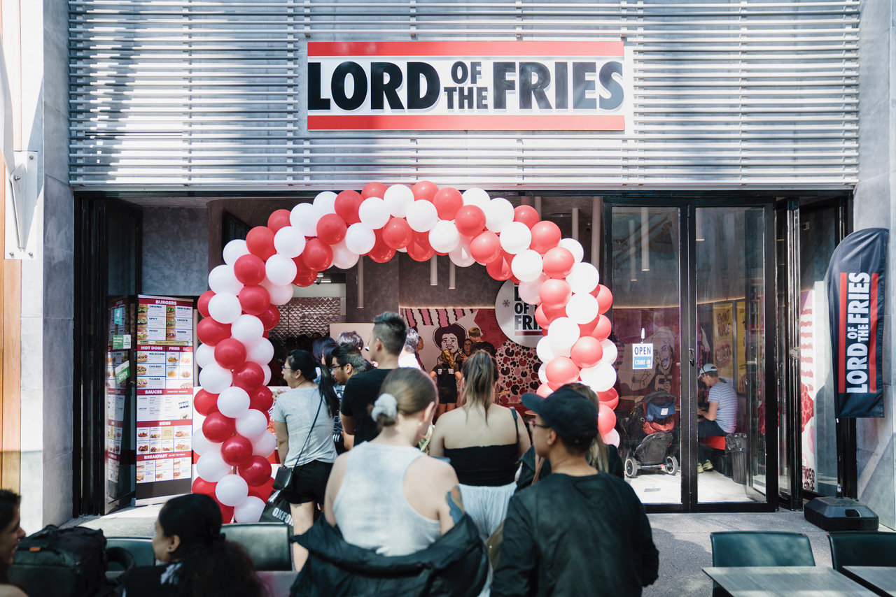 The opening of the new Lord of the Fries store at The District Docklands