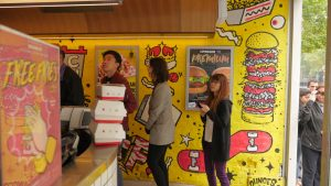 Customers lining up at the new Lord of the Fries store on Kind Street in the Melbourne CBD