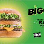 "Green graphic that states ""Biggie, Notoriously BIG taste 100% Vegan"" with an image of the Biggie Buger from Lord of the Fries"
