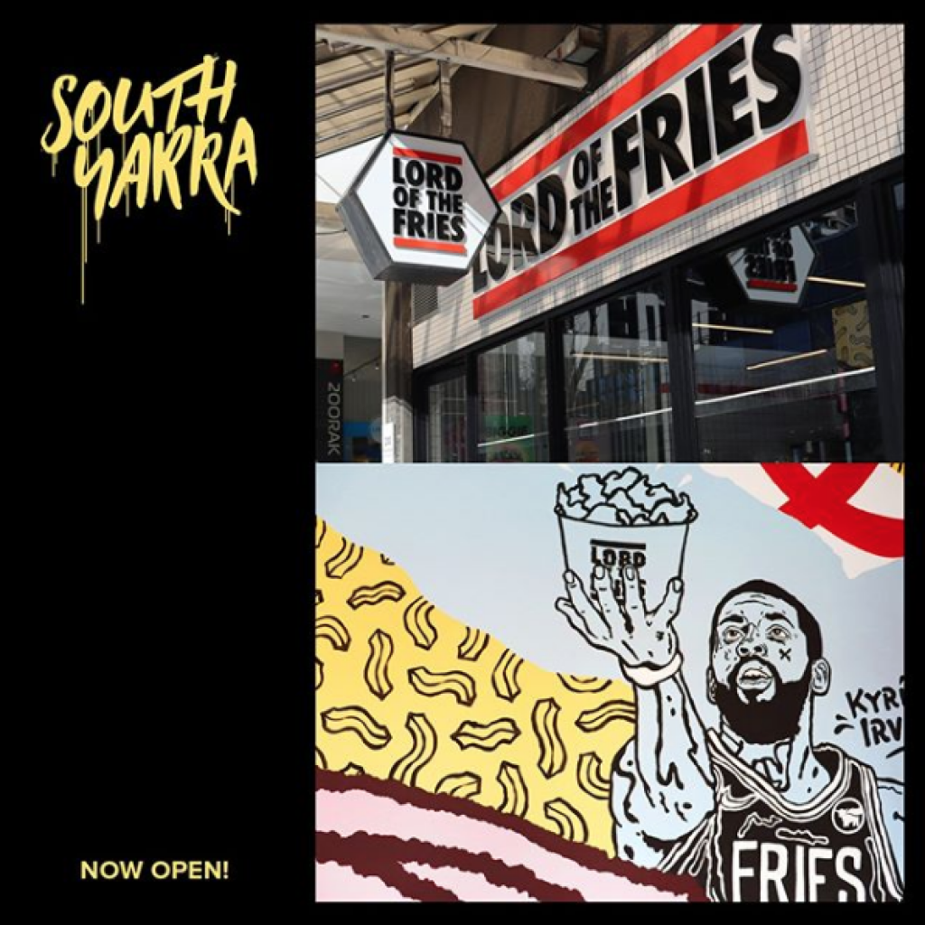 South Yarra Lord of the Fries Artwork compiled into a yellow and black graphic that states